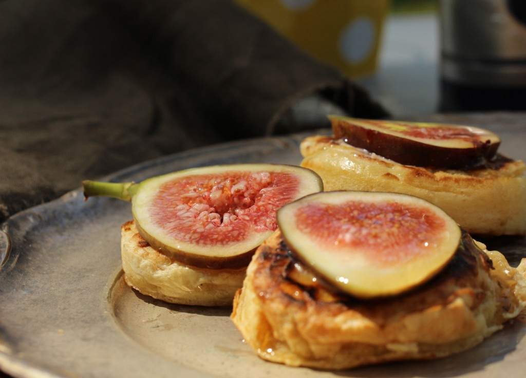 Home/camp made crumpets with fig and honey, yum!